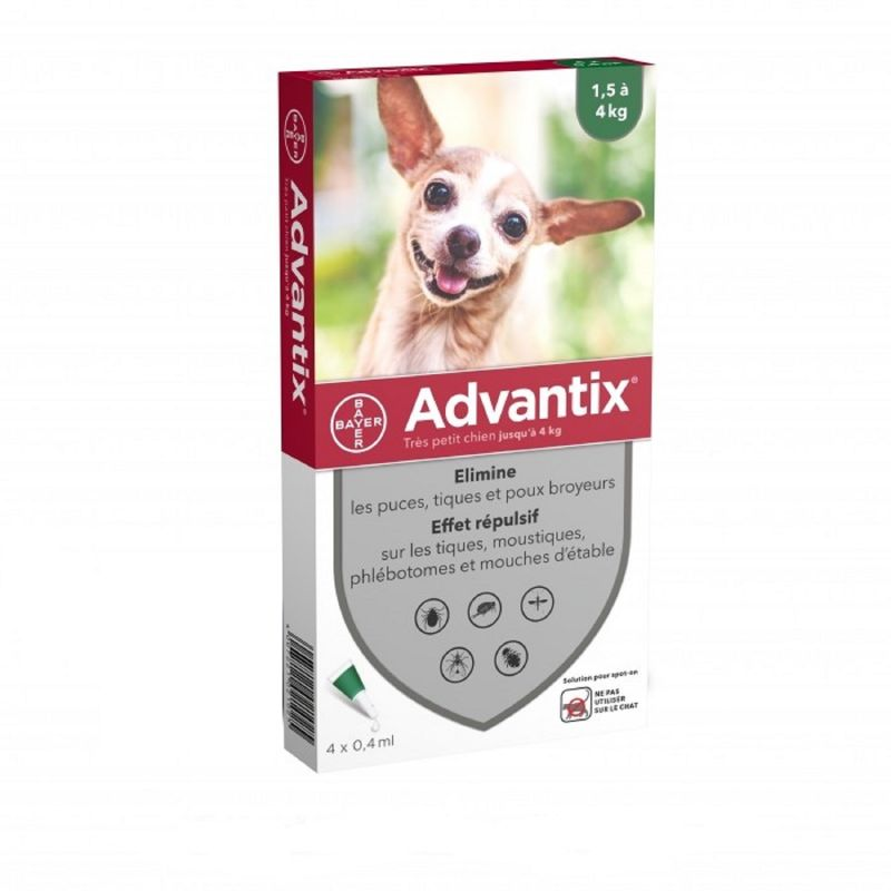 ADVANTIX TRES PETIT CHIEN Jusqu' à 4kg - Spot-on Pipette - Bte/4 x 0.4ml - BAYER SANTE ANIMALE