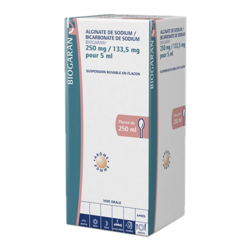 Alginate de Sodium /Bicarbonate de Sodium 250 mg/133,5 mg pour 5ml : 250 ml