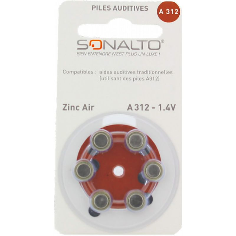 OCTAVE SONALTO Piles A312 Plaquette de 6 - Pile Auditive A312 Zinc Air 1.4 Volt Haute Performance -