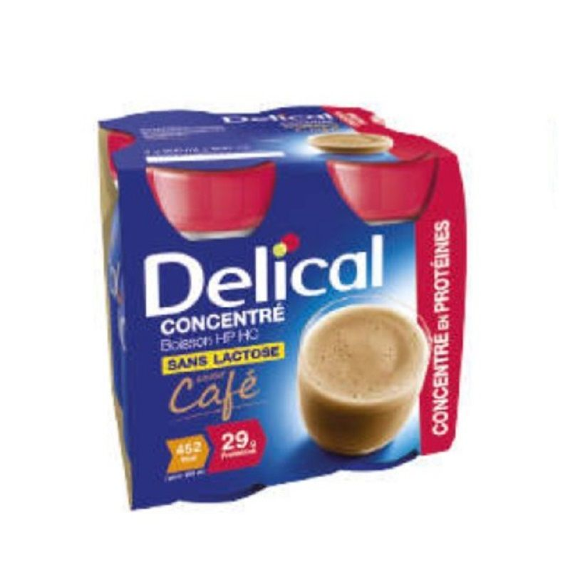 DELICAL CONCENTRE Café 4x 200ml - Boisson HP/HC - Dénutrition