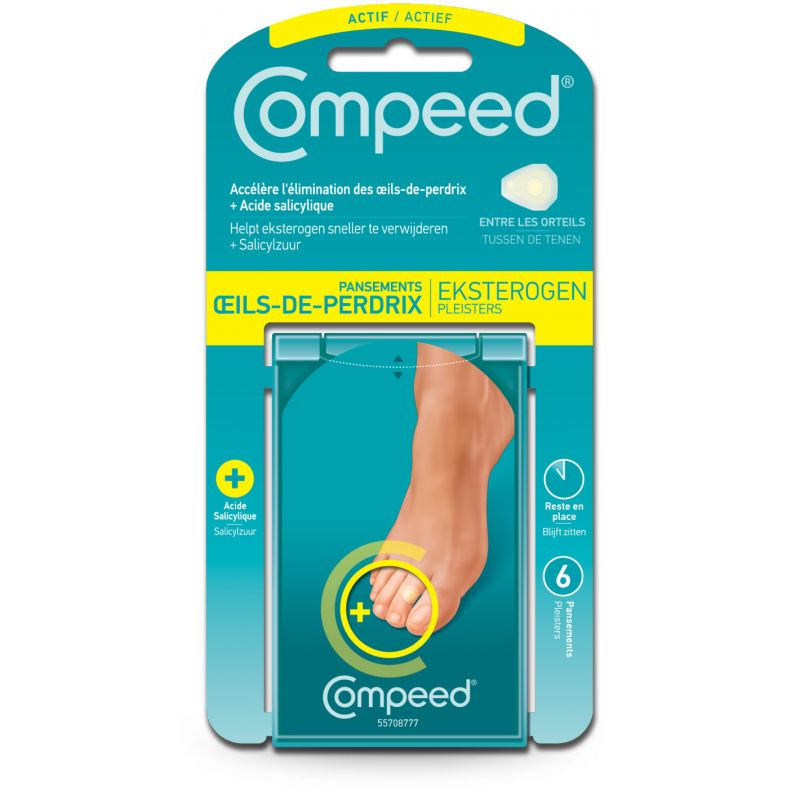 COMPEED Oeils de Perdrix + Pansements Actifs à l' Acide Salicylique - Bte/6 - JOHNSON et JOHNSON