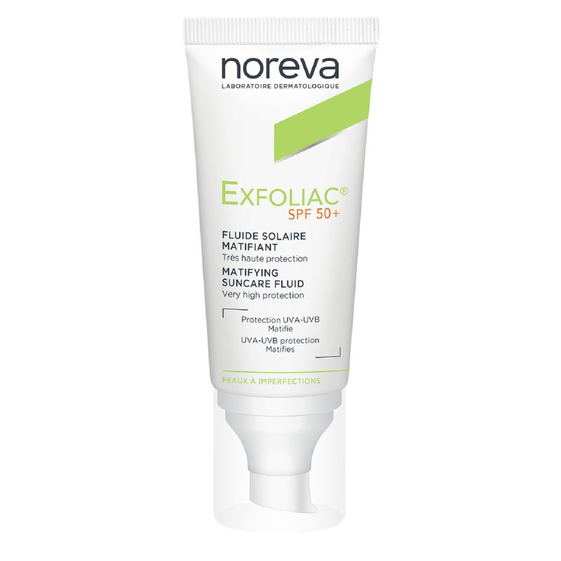 EXFOLIAC Fluide Solaire Matifiant SPF50+ Protection UVA/UVB - Peaux à Imperfections - T/40ml