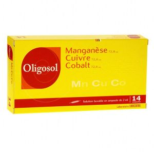 OLIGOSOL MANGANESE-CUIVRE-COBALT, solution buvable -14 ampoules 2ml