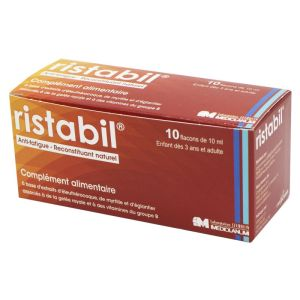 RISTABIL Solution Buvable 10x 10ml - Complément Alimentaire Anti Fatigue, Reconstituant Naturel