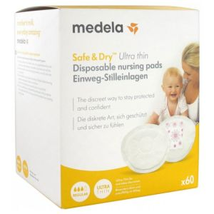 Medela Safe & Dry Coussinets d'Allaitement à Usage Unique Ultra Thin 60 Coussinets