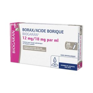 Borax/Acide Borique Biogaran 12 mg/18 mg/ml, lavage ophtalmique,20 unidoses