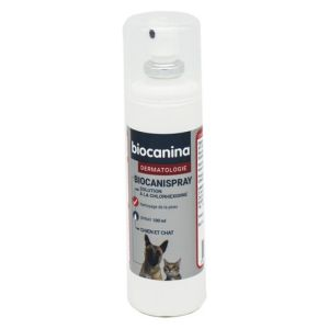 BIOCANINA Dermatologie BIOCANISPRAY 100ml - Solution Antiseptique à la Chlorhexidine - Chiens, Chats