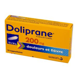 Doliprane 200 mg, 10 suppositoires
