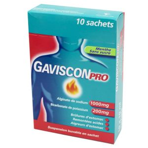 GavisconPro Menthe, suspension buvable -10 sachets 10 ml