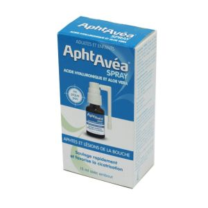 APHTAVEA Spray 15ml - Spray Buccal Aphtes et Lésions de la Bouche - Acide Hyaluronique, Aloe Vera