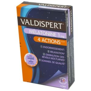 VALDISPERT MELATONINE 1 mg 4 Actions : Endormissement + Relaxation + Diminution des Rêves Nocturnes