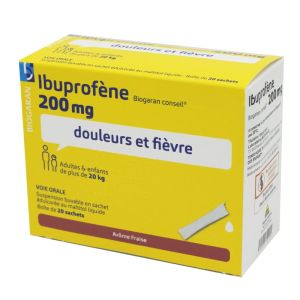 Ibuprofène Biogaran Conseil 200 mg Suspension buvable - 20 sachets