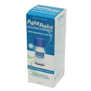 APHTAVEA Solution Traitante 120ml - Aphtes et Lésions de la Bouche - Acide Hyaluronique, Aloe Vera