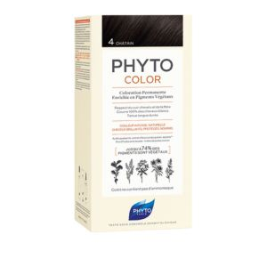 PHYTOCOLOR 4 Chatain - Kit de Coloration Permanente Enrichie en Pigments Végétaux