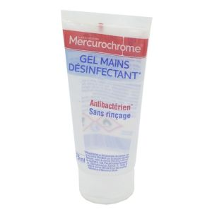 MERCUROCHROME Gel Hydroalcoolique Mains Désinfectant 75ml - Action Bactéricide, Fongicide, Virucide