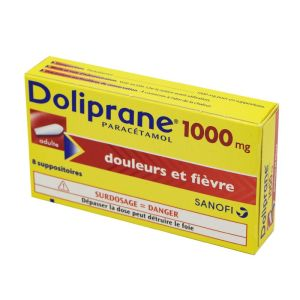 Doliprane Adultes 1000 mg, 8 suppositoires