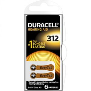 DURACELL EasyTab 312 Piles Auditives - Taille 312 Couleur Marron - Bte/6 Batteries