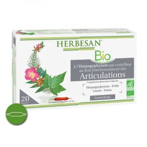 HERBESAN Bio Articulations 20 Ampoules - Complément Alimentaire Harpagophytum, Prêle, Cassis, Frêne