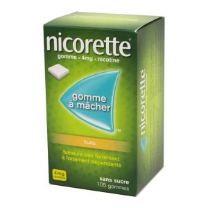 Nicorette 4 mg fruits, sans sucre - 105 gommes à mâcher
