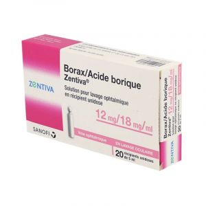 Borax/Acide Borique ZENTIVA 12 mg/18 mg/ml, lavage ophtalmique 20 unidoses