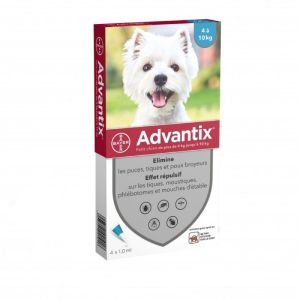 ADVANTIX PETIT CHIEN 4 à 10kg - Spot-on Pipette - Bte/4 x 1ml - BAYER SANTE ANIMALE