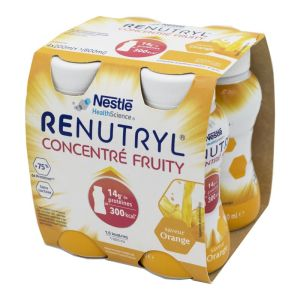 RENUTRYL CONCENTRE FRUITY Orange 4x 200ml - Dénutrition - 300 kcal / 14g Protéines