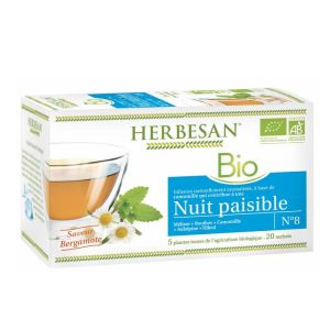 HERBESAN Bio Nuit Paisible - Infusion n°8 Camomille, Tilleul,Melisse, Rooibos, Aubépine - 20 Sachet