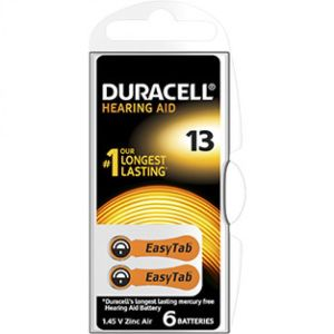 DURACELL EasyTab 13 Piles Auditives - Taille 13 Couleur Orange - Bte/6 Batteries