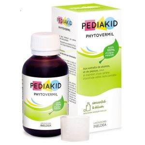 PEDIAKID Phytovermil 125ml - 100% d' Origine Naturelle - Parasitose Intestinale