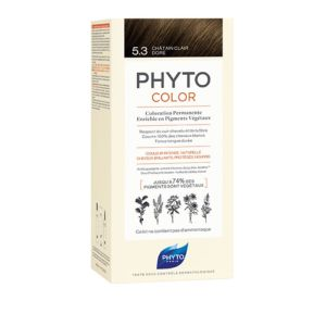 PHYTOCOLOR 5.3 Chatain Clair Doré - Kit de Coloration Permanente Enrichie en Pigments Végétaux