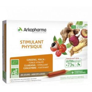 ARKOFLUIDES Stimulant Physique BIO - Ginseng, Guarana, Gingembre, Maca - Innovation UltraExtract - B