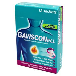 Gavisconell Menthe sans sucre, suspension buvable -12 sachets 10 ml