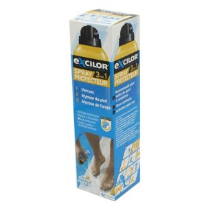 EXCILOR 3 en 1 Protection des Infections du Pied - Spray Protecteur 3 en 1 - 8 Heures de Protection