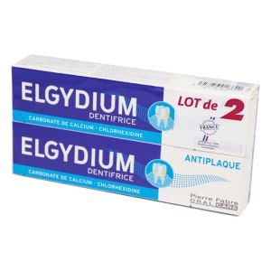 ELGYDIUM ANTI PLAQUE Lot de 2x 75ml Dentifrice - Carbonate de Calcium, Chlorhexidine - 2x T/75ml