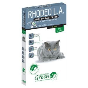 RHODEO L.A Chat de 1 à 5kg - 4 Pipettes de 0.85ml - Anti Parasitaire à Forte Action Répulsive