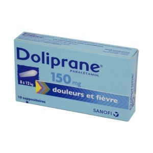 Doliprane 150 mg, 10 suppositoires