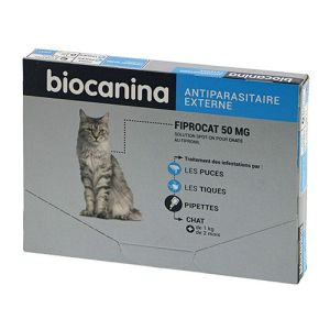 BIOCANINA FIPROCAT 50mg Chats (ex TICK PUSS) Spot On au Fipronil - Solution Cutanée Anti Parasitaire