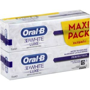 Lot de 2 ORAL B 3D White Luxe PERFECTION - Maxi Pack - Dentifrice pour la Protection et la Préventio