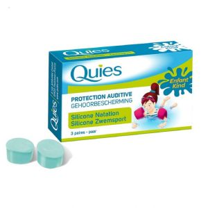 QUIES Protection Auditive Silicone - Spécial Natation ENFANT - Bte/3 Paires