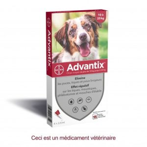ADVANTIX CHIEN MOYEN 10 à 25 kg - Spot-on pipette - Bte/4 x 2.5ml - BAYER SANTE ANIMALE