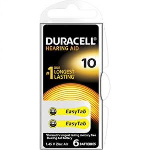 DURACELL EasyTab 10 Piles Auditives - Taille 10 Couleur Jaune - Bte/6 Batteries