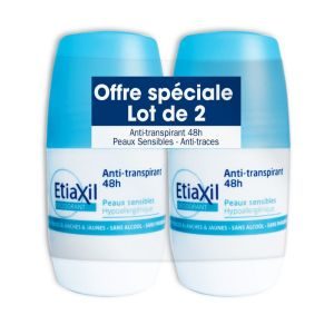 ETIAXIL Lot de 2 Déodorants Anti Transpirant 48H  Pour Peaux Sensibles  2x Roll-On/50ml  COOPER