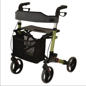Rollator Pliant 4 Roues ALU STYLE Vert avec Siège, Saccoche, Freins Bloquants, Repose Pied - O2419