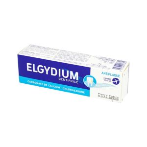 ELGYDIUM ANTI PLAQUE 50ml Dentifrice Format Voyage - Carbonate de Calcium, Chlorhexidine - 50ml