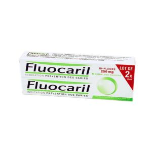 Fluocaril Bifluoré 250 mg Menthe, pâte dentifrice - Lot de 2 tubes 75 ml