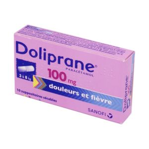 DOLIPRANE 100 mg, 10 suppositoires sécables