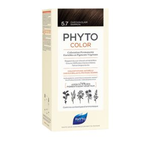 PHYTOCOLOR 5.7 Chatain Clair Marron - Kit de Coloration Permanente Enrichie en Pigments Végétaux