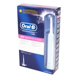 ORAL B PRO 800 Sensitive Clean - 1 Brosse à Dents Electrique Rechargeable + 2 Brossettes (Cross Acti