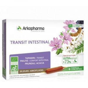 ARKOFLUIDES Transit Intestinal BIO - Tamarin, Mauve, Pruneau - Innovation UltraExtract - Bte/20 amp
