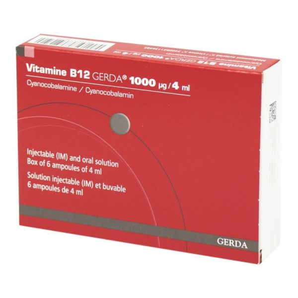 Vitamine B12 Gerda1000 µg, solution injectable (IM) et buvable - 6 ampoules 4 ml